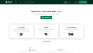 Plans for Shopify