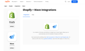 Wave syncing with Shopify is Zapier